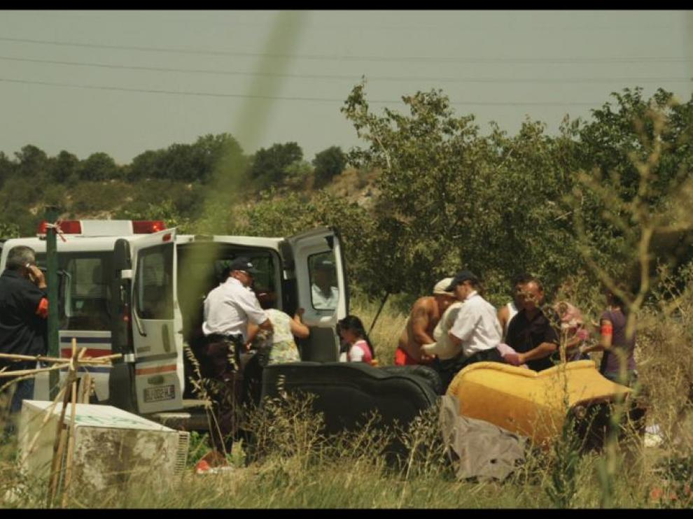 Délogement d'un camp de roms par la police
