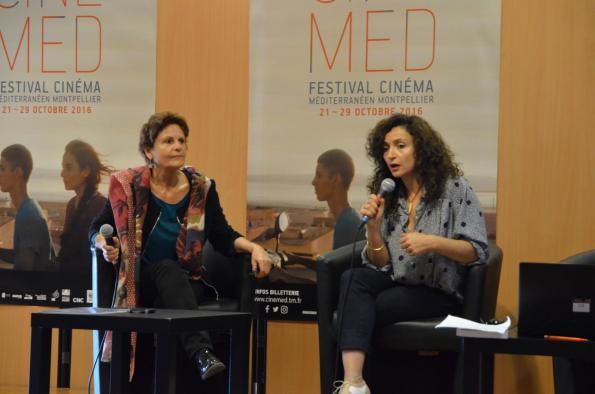 """La réalisatrice Dima El Horr et la productrice Chantal Dubois (AUM Films) évoquant au festival Cinémed de Montpellier en 2016, le projet de documentaire """"Une femme, un voile, un scooter"""""""