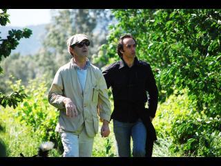 Deux hommes marchant dans la forêt