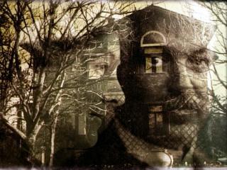 Surimpression du visage d'Italo Svevo sur une grande maison d'époque