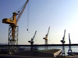 Grues sur un chantier naval