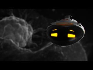 Tête de robot, aux yeux jaunes