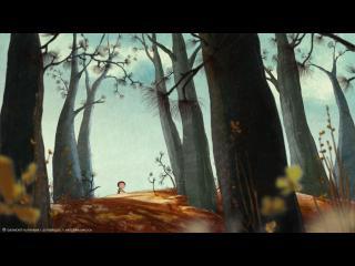 Image d'animation : Le personnage principal du film marche dans une forêt