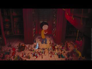 Image d'animation : Personnage principal du film dans une bibliothèque entouré par de mini-personnages sortant des livres