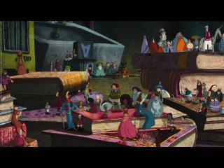 Image d'animation : Les mini-personnages sortis des livres évoluent sur les livres