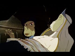 La reine des singes, allongée dans un lit ; à côté d'elle, le regard menaçant, un méchant singe