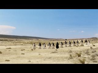 Procession de religieuses dans un paysage désertique