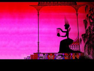 Sur un fond rose, une princesse est assise dans un kiosque et regarde quelque chose dans une petite cage qu'elle tient dans les mains